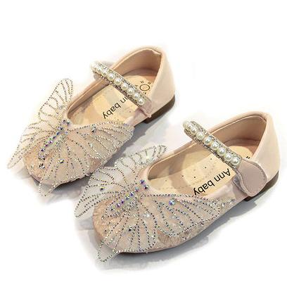 2020 оны хавар, намрын шинэ охидын гүнж гутал tulle халуун rinstone эрвээхэй rhestone ганц гутал Солонгосын зөөлөн ёроолгүй хүүхдийн гутал